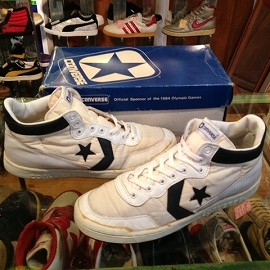 """converse - 「<used>80's converse COURT STAR MID white/navy""""made in KOREA"""" W/BOX size:US9/h(27.5cm) 12800yen」販売中"""