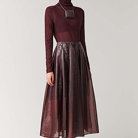 COS - panelled a-line skirt in red