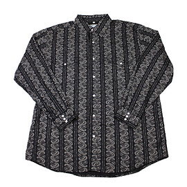 VINTAGE - Paisley Print Pearl Snap Button Up Cotton Shirt in Black/White Mens Size XL