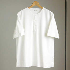 AURALEE - HIGH GAUGE PIQUE DOUBLE CLOTH HENLEY NECK #white