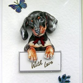 Luulla - Daschund Hand-Crafted 3D Decoupage Card - Blank for any Occasion