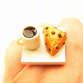 SouZouCreations - Coffee Ring Kawaii Cute Food Jewelry Chocolate Chip Scone
