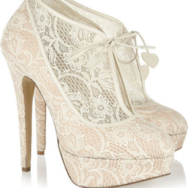 CHARLOTTE OLYMPIA - Minerva lace and satin ankle boots