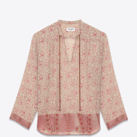 SAINT LAURENT - SS2015 BAND COLLAR TUNIC IN IVORY AND ROSE MODAL AND VIRGIN WOOL