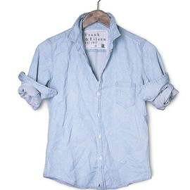 FRANK & EILEEN - MENS Luke 1960s Inspired Stonewashed Indigo Shirt