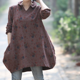 shirt - Bud coat shirt/ lapel floral Leisure shirt/ asymmetric long shirt