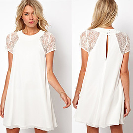 Fashion Lace Spliced Short Sleeve Chiffon Dress