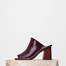 CELINE - Rivet Mule with Wooden Heel in Burgundy Soft Spazzolato