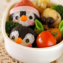 penguin bento box. cute food.