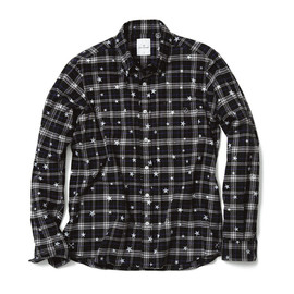 uniform experiment  - STAR PRINT FLANNEL CHECK B.D SHIRT