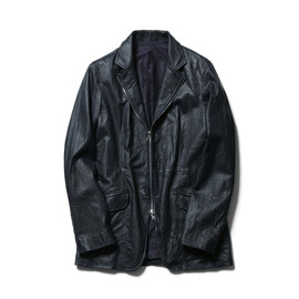 SOPHNET. - WASHED LEATHER ZIP JACKET/navy