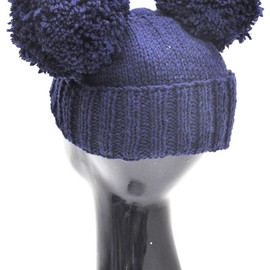Piers Atkinson - NATHAN'NAVY BEANIE WITH DOUBLE POMPOM