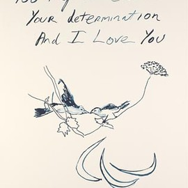 "Tracey Emin - ""... and i love you"", embroidery work"