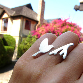 smilingsilversmith - Flying bird - handmade silver ring