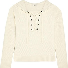 Madewell - Jameson hooded lace-up waffle-knit wool sweater