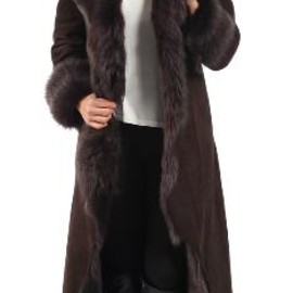 london fashion - Brown Full Length Toscana Shearling Coat