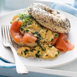 Smoked Salmon Bagel With - Herbed Scrambled Eggs