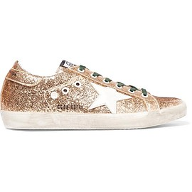 Golden Goose Deluxe Brand - Super Star distressed glittered leather sneakers