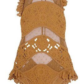 Zimmermann - Good Times ruffled broderie anglaise and point d'esprit swimsuit