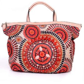 Ostara - Bead Embellishments Leatherette Tote Handbag in Orange by Liza