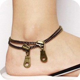 Creative infinite the retro double layer anklet zipper the anklet zipper Anklets