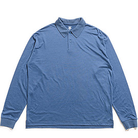 DESCENTE PAUSE - Merino Wool Polo L/S-Dark Blue