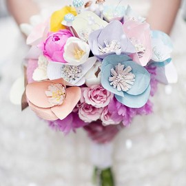 Paper + Real Flower Bouquet