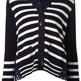 sacai - SS2015 Lace back stripe knit cardigan