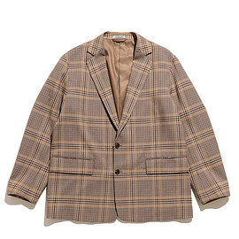 AURALEE - Wool Serge Check Jacket-Beige Glen Check