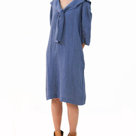 OurLittleDaisy: Simple Brown Yellow & Dark Blue Contrastcolor Loose Natural Japanese Dress