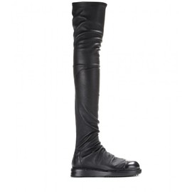 RICK OWENS - Leather over-the-knee boots