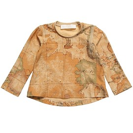 ALVIERO MARTINI - Girls Beige Cotton Vintage Map Top