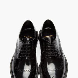 SAINT LAURENT - SAINT LAURENT Black Leather Perforated Derbys