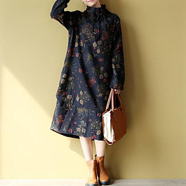 large size dresses - dark blue/ black Loose long dress Stand collar Long sleeves Cotton and large size dresses