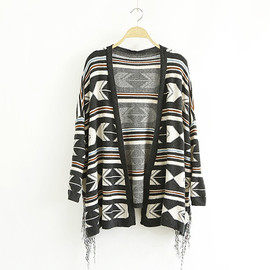 Ethnic Customs Floral Print Knitting Cardigan