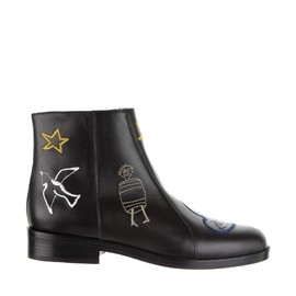 CARVEN - Embroidered calf leather boots