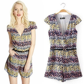 Fashion V-neck Short Sleeve Floral Print Jumpsuits
