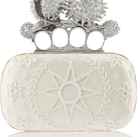 Alexander McQueen - FW2014 Knuckle Duster Conker embellished satin box clutch