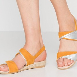 Yellow wedge shoes!