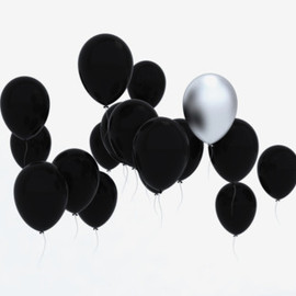 Matt black&Silver balloons