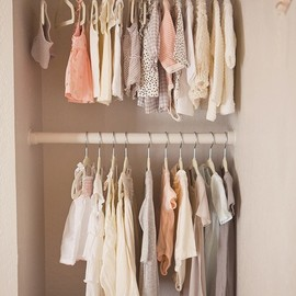 Closet and pretty color palette, dreamy clothes.