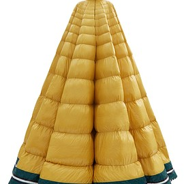 1 Moncler Pierpaolo Piccioli - Erminia hooded striped down-filled gown