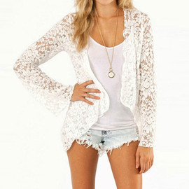 European Style Sexy Semi-Sheer Irregular Lace Outerwear
