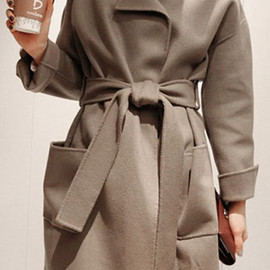 coat - Image of  [grzxy6600424]European Style Sash Pure Color Stand Collar Worsted Coat
