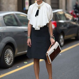 street - Milan Fashion Week Spring 2014. Retro inspired street style