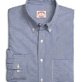 Brooks Brothers - Navy and White Seersucker Fun Shirt