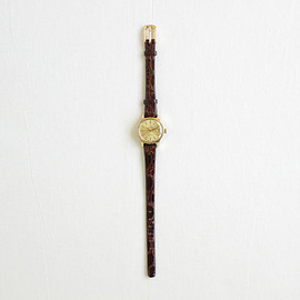 Antique&Vintage Watches|WOMEN - Geneve #dark brown leather strap / gold dial & gold
