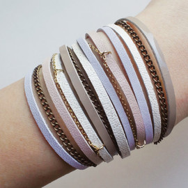 QUOLIAL  - layered cuff with leather & chain in pastel pink, ravender, bronze, beige, white - free shipping