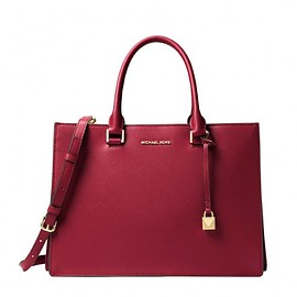 Milk shake - MICHAEL Michael Kors Sutton Medium Gusset Satchel Red