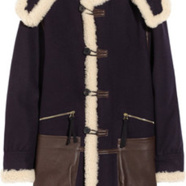 MARNI - Wool, shearling and leather-trimmed wool coat
